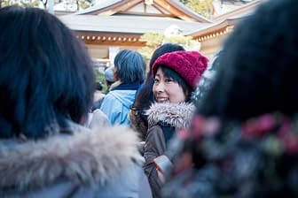 Waiting for Mochi, Gokoku Shrine, Hiroshima