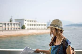 Disembarking at Ninoshima Island, Hiroshima