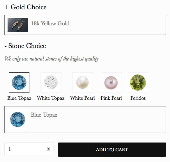 LaceworksJewelry Product Options Form