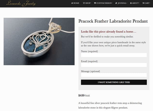 Laceworks Jewelry Sold Out Item Custom Order Prompt
