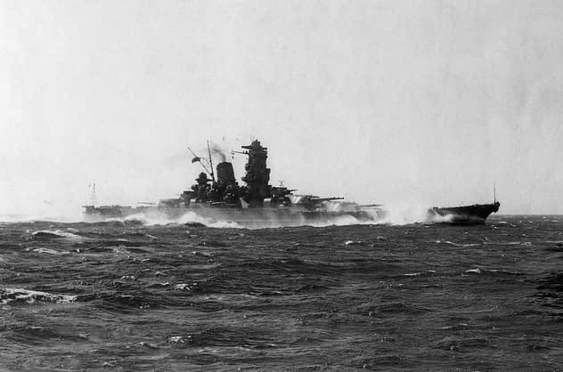 Battleship Yamato underway, circa 1941