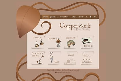 Copperwork by Dana Godfrey Website designed by Peter Chordas