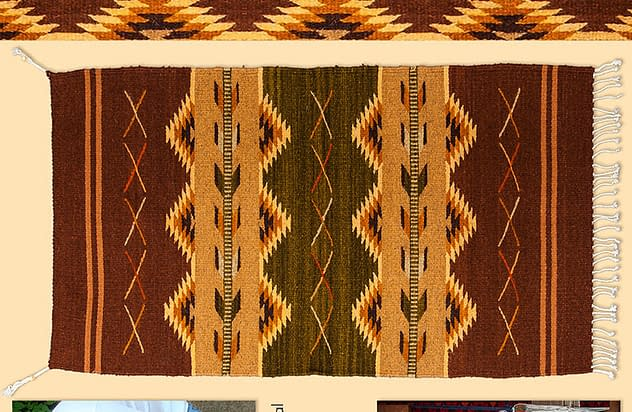Hand woven rug by Bautista Weaving