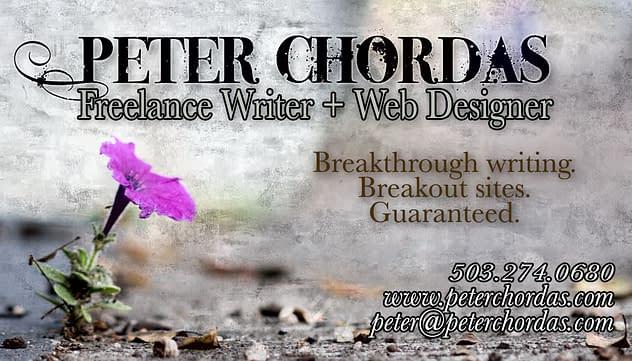 Peter Chordas Business Card