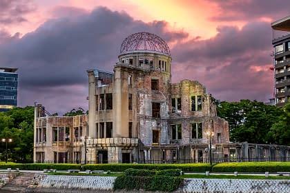 Hiroshima's A-bomb Dome at Sunset