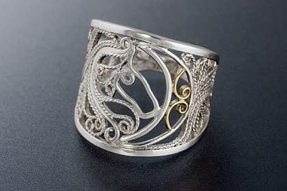 Horse Ride in Moonlight Ring by Laceworks Jewelry, photographed by Peter Chordas
