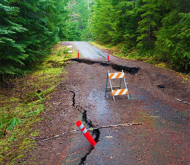 Broken road on Mt. Hood