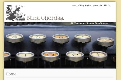 Nina Chordas website, designed by Peter Chordas