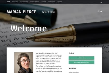 Marian Pierce's Website, designed by Peter Chordas