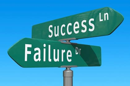 Success And Failure intersection image for blog post written by Peter Chordas for Make a Living Writing