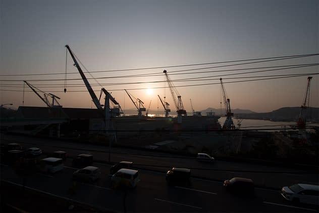 Unedited photo of cranes in Kure City