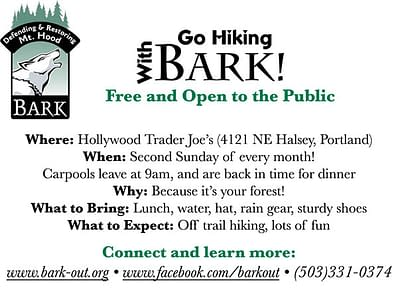 Bark Hike Flyer (1/4 sheet size) designed and written by Peter Chordas
